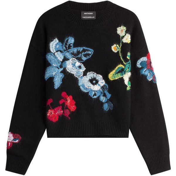 Rendered in a plush wool-cashmere mix, Anthony Vaccarello& cropped sweater  features intricate floral embroidery in bright multicolored hues * Black ...
