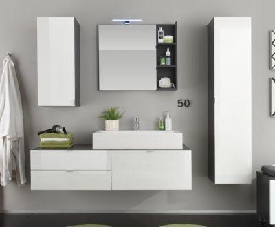 Badezimmer weiss hochglanz tiefgezogen  grau Jetzt bestellen unter - badezimmer weiß grau