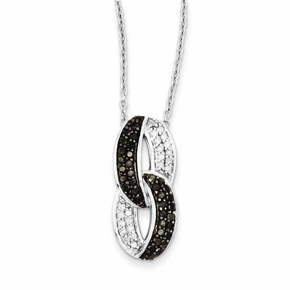 Sterling silver black white diamond pendant necklace black sterling silver black white diamond pendant necklace aloadofball Choice Image