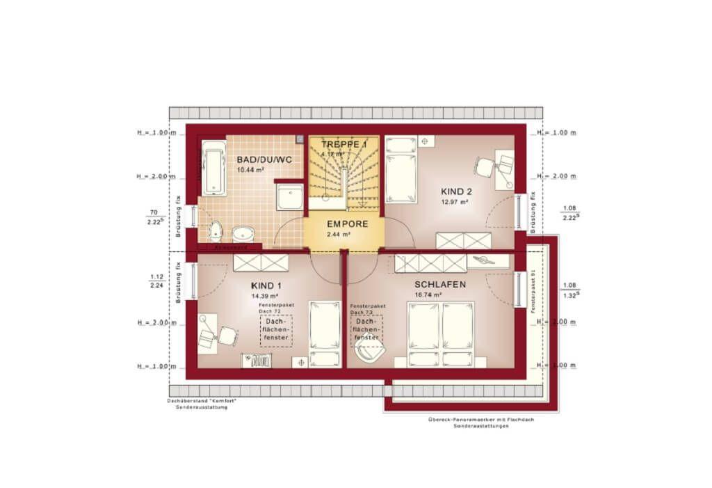 Grundriss Einfamilienhaus Obergeschoss mit Satteldach - Haus Edition - offene kuche wohnzimmer grundriss