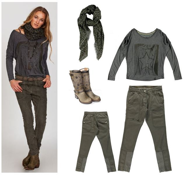 My today's outfit: PLUS FINE star tee, pant & scarf combined with the lovely star bikerboots from SANCHO <3 <3