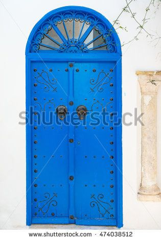 Blue Traditional door with arch from Tunisia. Sidi Bou Said