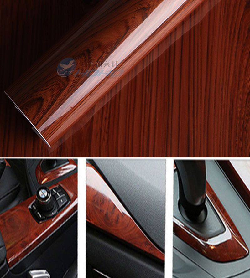 Glossy Wood Grain Textured Vinyl Selfadhesive Car Wrap