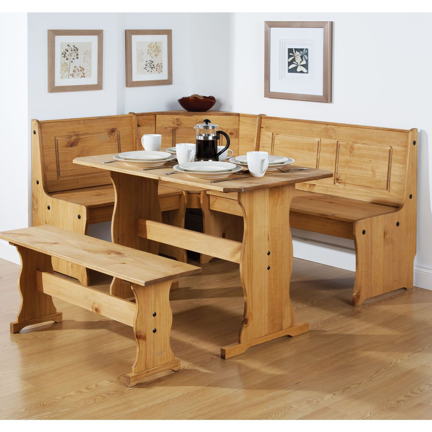 Well Made Corner Bench Seat Dining Table With Natural Wooden Materials Design