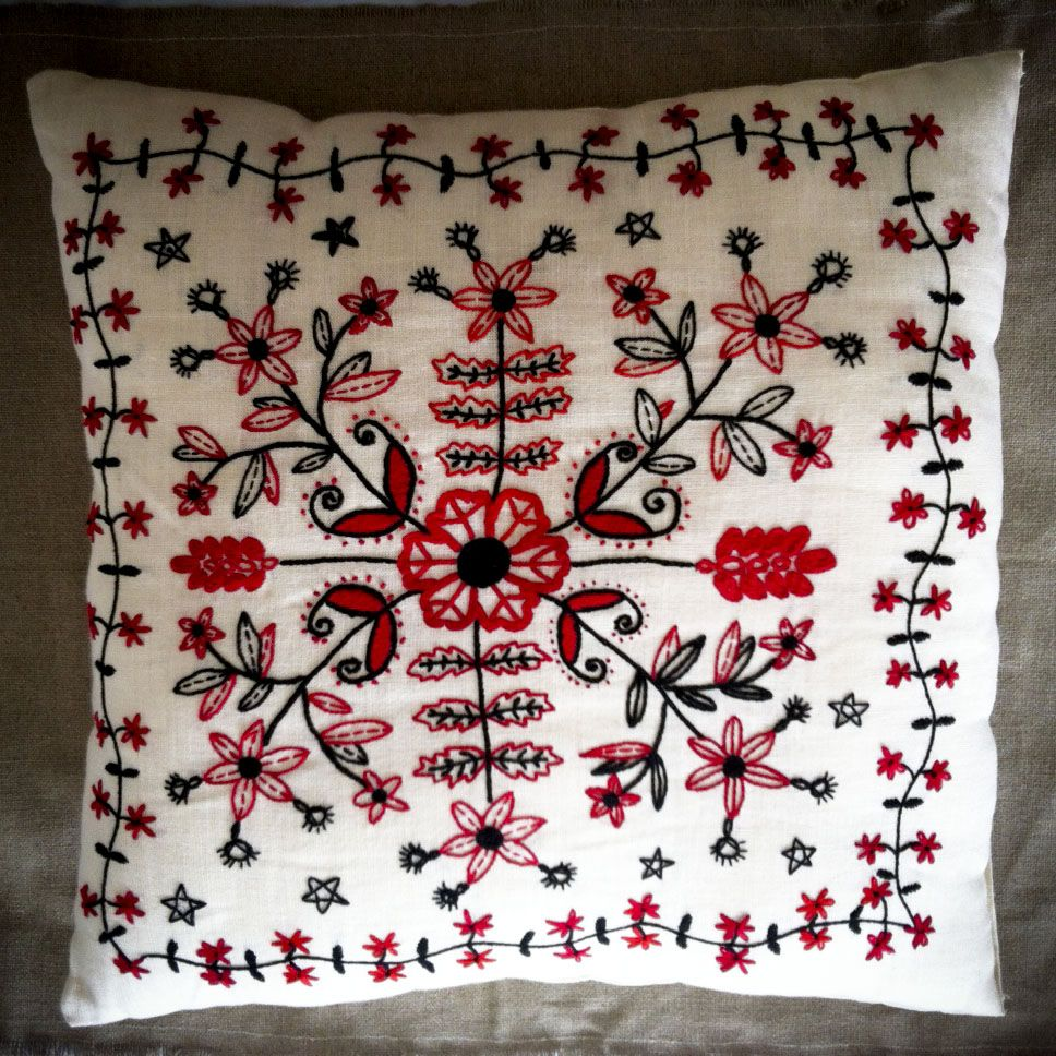 Traditional folk embroidery from the Rzeszowski region in Poland. Cushion cover made from hemp/cotton
