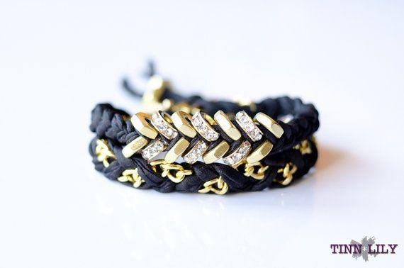 TINNLILY Silk Sparkling Midnight Chain and Hex Nut Double Wrap Bracelet with Swarovski Crystals
