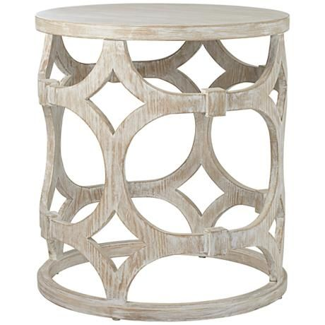 Lanini Whitewash Accent Table Metal End Tables Side Table Lamps White Wash Table