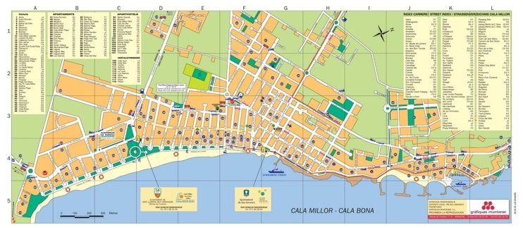 Cala Bona And Cala Millor Hotel Map With Images Map Majorca