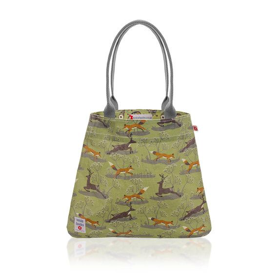 Fox Deer Tote Bag In Green By Susie Faulks Oilcloth Bags Made England Original Print
