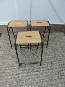 Vintage industrial school metal wood stacking science lab stools chair table old 2 #chairs # & Vintage industrial school metal wood stacking science lab stools ... islam-shia.org