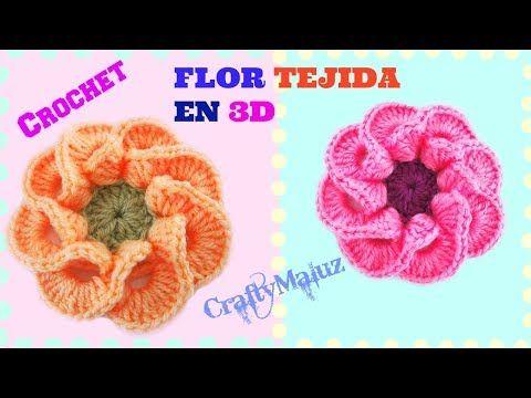 Flor tejida a crochet paso a paso # 2, para adorno de ponchos ...
