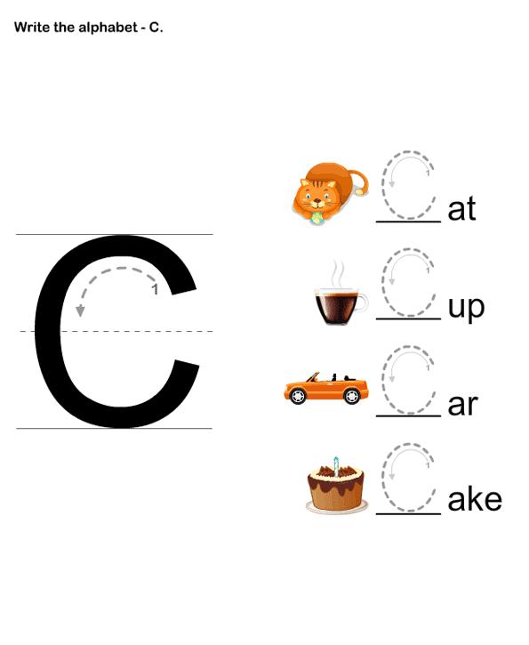 Letter Writing C Pre-k Kids Learning Games And Worksheets Free  Printable Activities & Online … Preschool Writing, Kindergarten Letters, Preschool  Worksheets