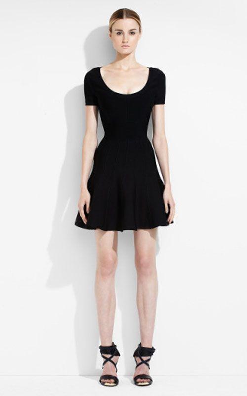 5e22c92e6633 Black Herve Leger Trish A Line Tubular Knit Short Dress Online ...