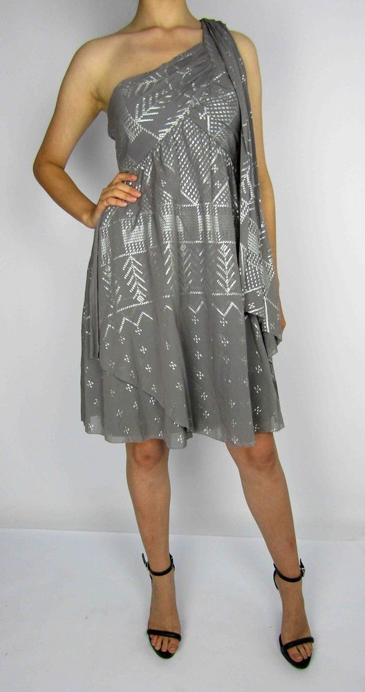 ALICE by Temperley grey asymmetric dress with silver detailing and side zip fastener