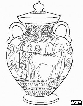 ancient greek olympics coloring pages of two horses and geometric motifs - Greek Coloring Pages