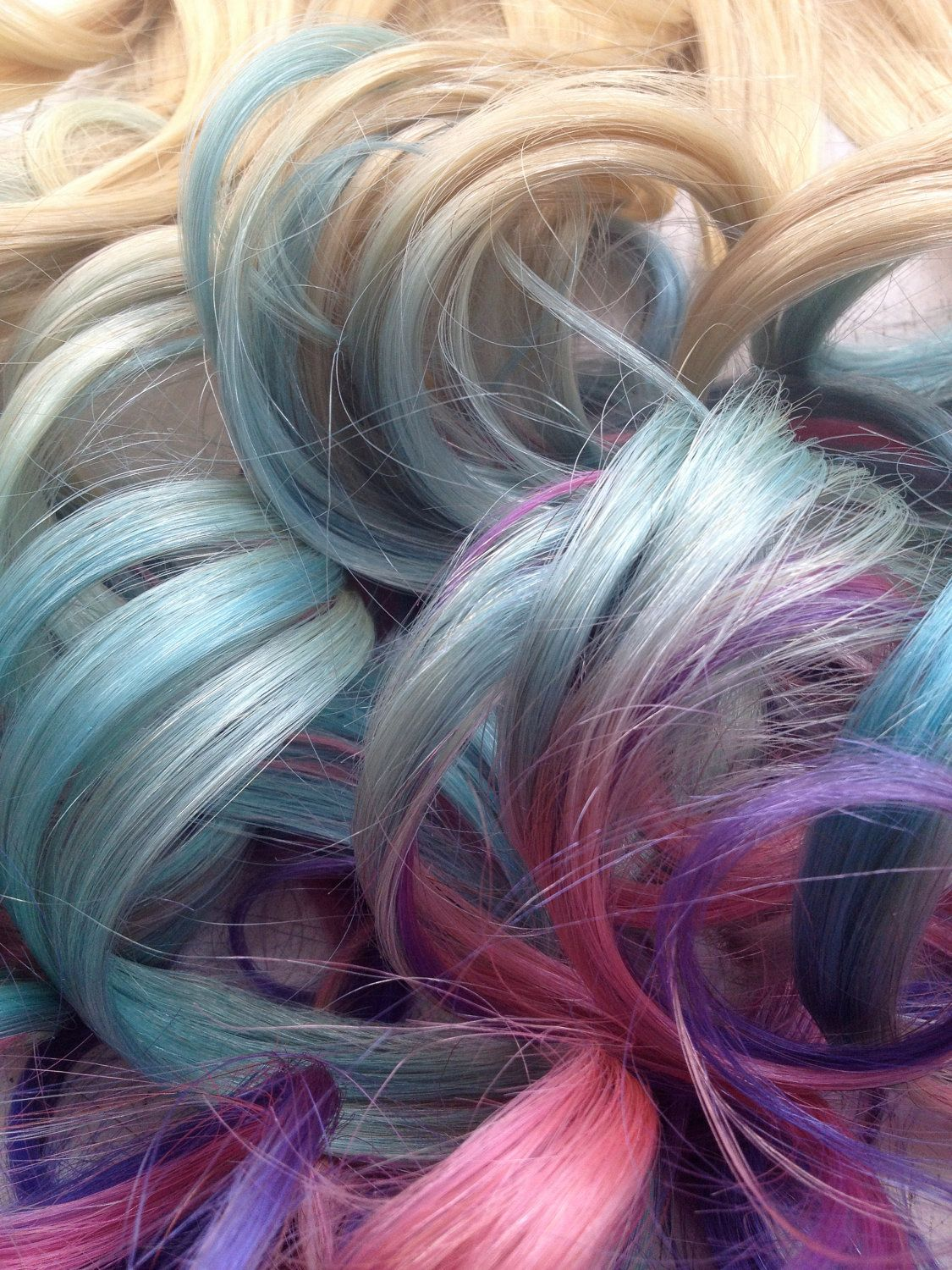 Pastel Tie Dye Hair Extensions Blonde Hair Dipped In Blue Pink And