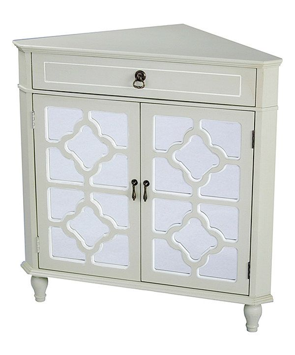 Look at this Beige & White Lattice Window Mirrored Corner Cabinet on #zulily today!