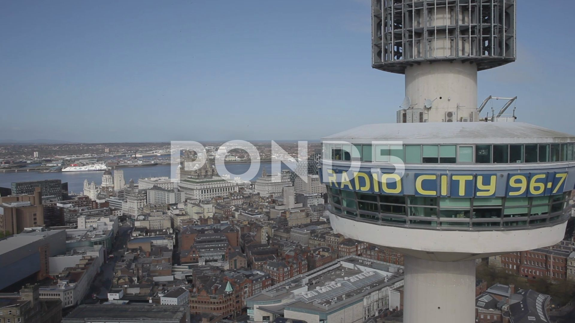 Liverpool City And Radio City Tower Aerial Flight Stock Footage Ad Radio Tower Liverpool City Liverpool City Radio City City
