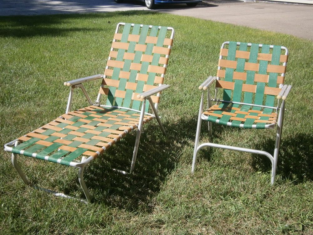 webbed folding lawn chairs hanging chair etsy vintage pair chaise aluminum outdoor patie deck