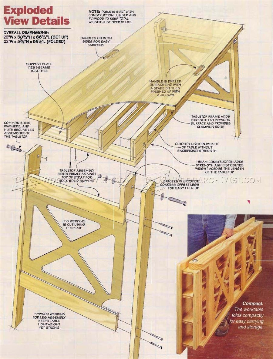 547 Folding Work Table Plans Planer Solutions