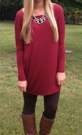 Women's PIKO Tunic in WINE Long Shirt by BristolBendBoutique ...