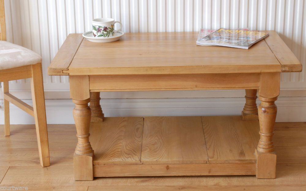 Antique Pine Coffee Table Solid Wood Turned Legs Solid Wood