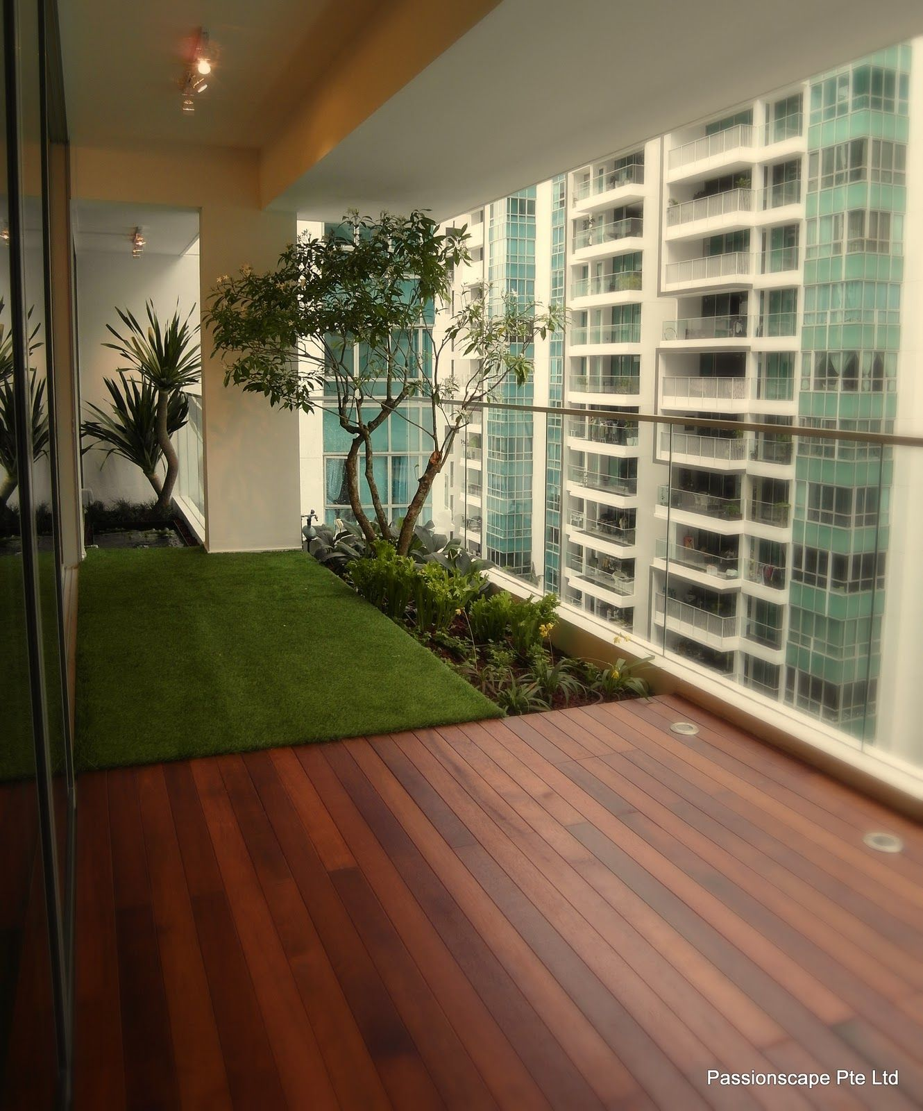 Grass box on apartment balcony google search balcony for Terrace interior design ideas