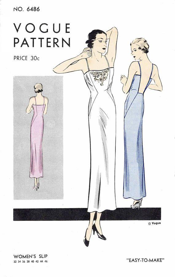 1930 30s pattern evening slip dress plunge back // vintage lingerie ...