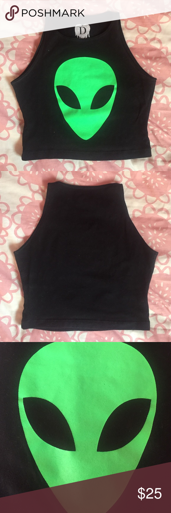 Green Alien American Apparel Crop Top From Declared clothing but on an American Apparel Crop Top. Perfect condition. Worn a few times but Top has no pilling and Alien is it ruined since washed inside out and hung dry UNIF Tops Crop Tops