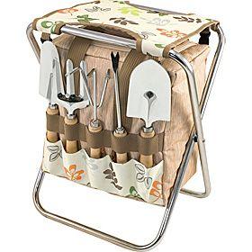 4750c0a0f718bfbb5b47946924b741e1 - Picnic Time Gardener Folding Chair With Tools