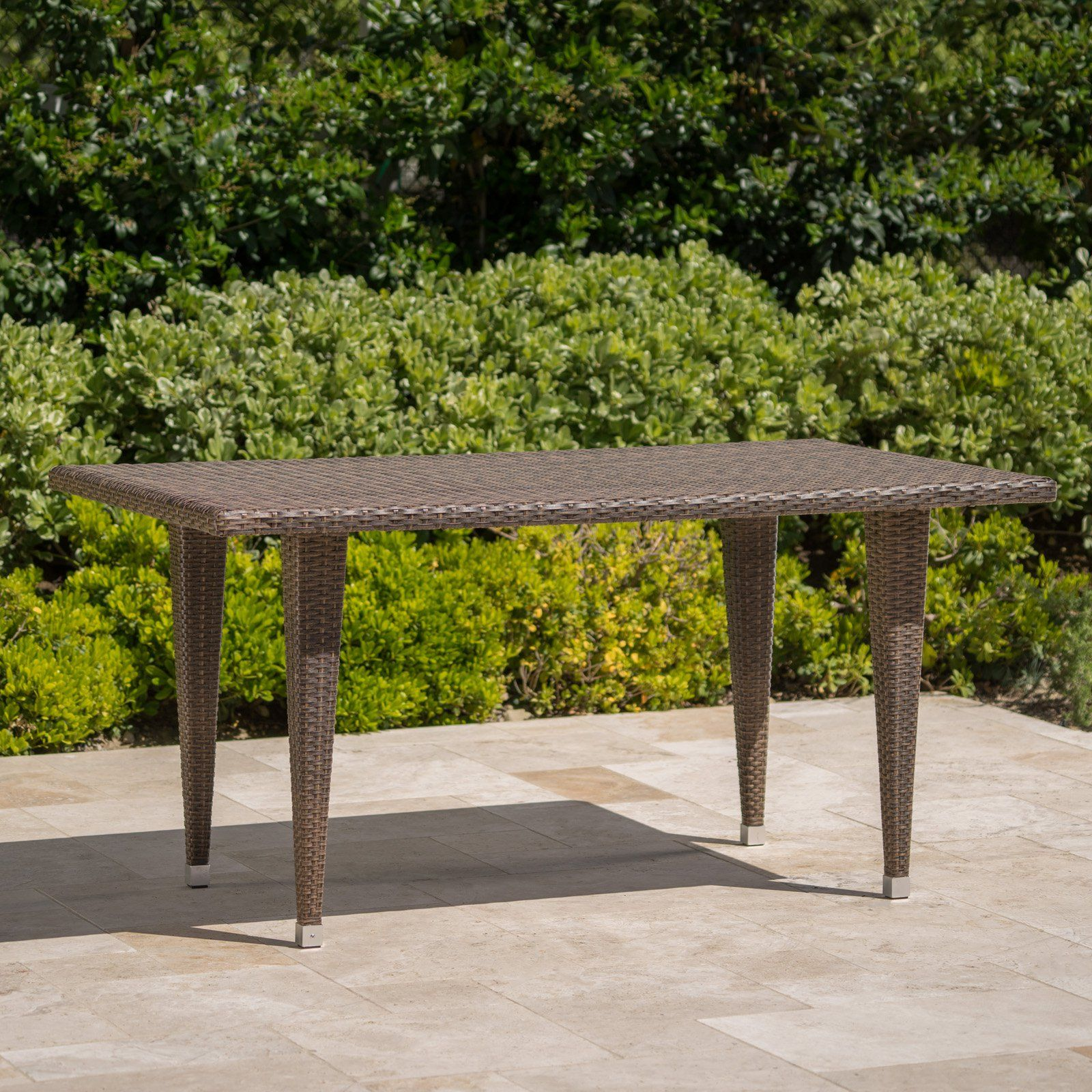 Dominica Outdoor Rectangular Wicker Dining Table Patio Furniture