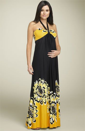 1e6956e5c55 Olian Maternity Floral Halter Maxi Dress