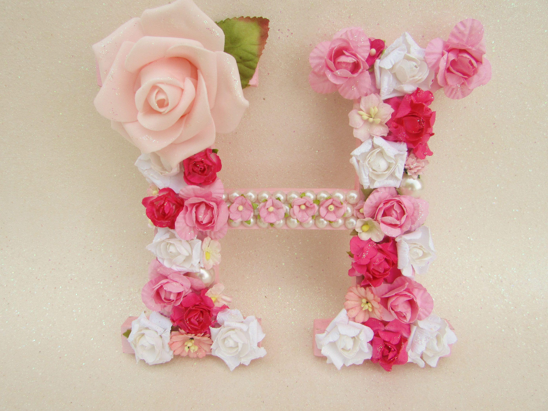 Floral name letter - Custom name letter - Flower letter H - Pink ...