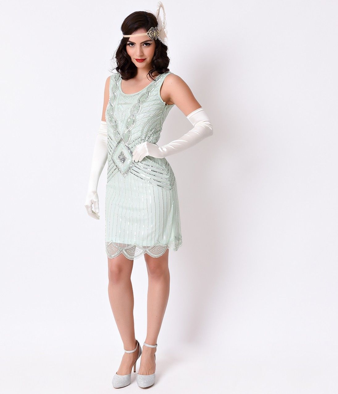 1920s Mint & Silver Sequin Beaded Athena Gatsby Flapper Dress ...