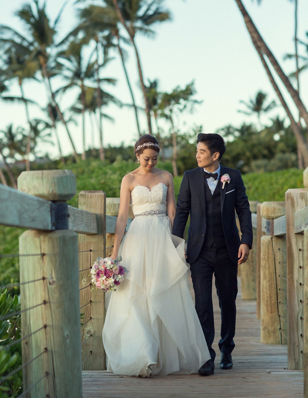 Mykle Coyne Hawaii Bridal Resort Hotel Wedding Photography Details Maui Portrait Beach Bridge Palm Andaz