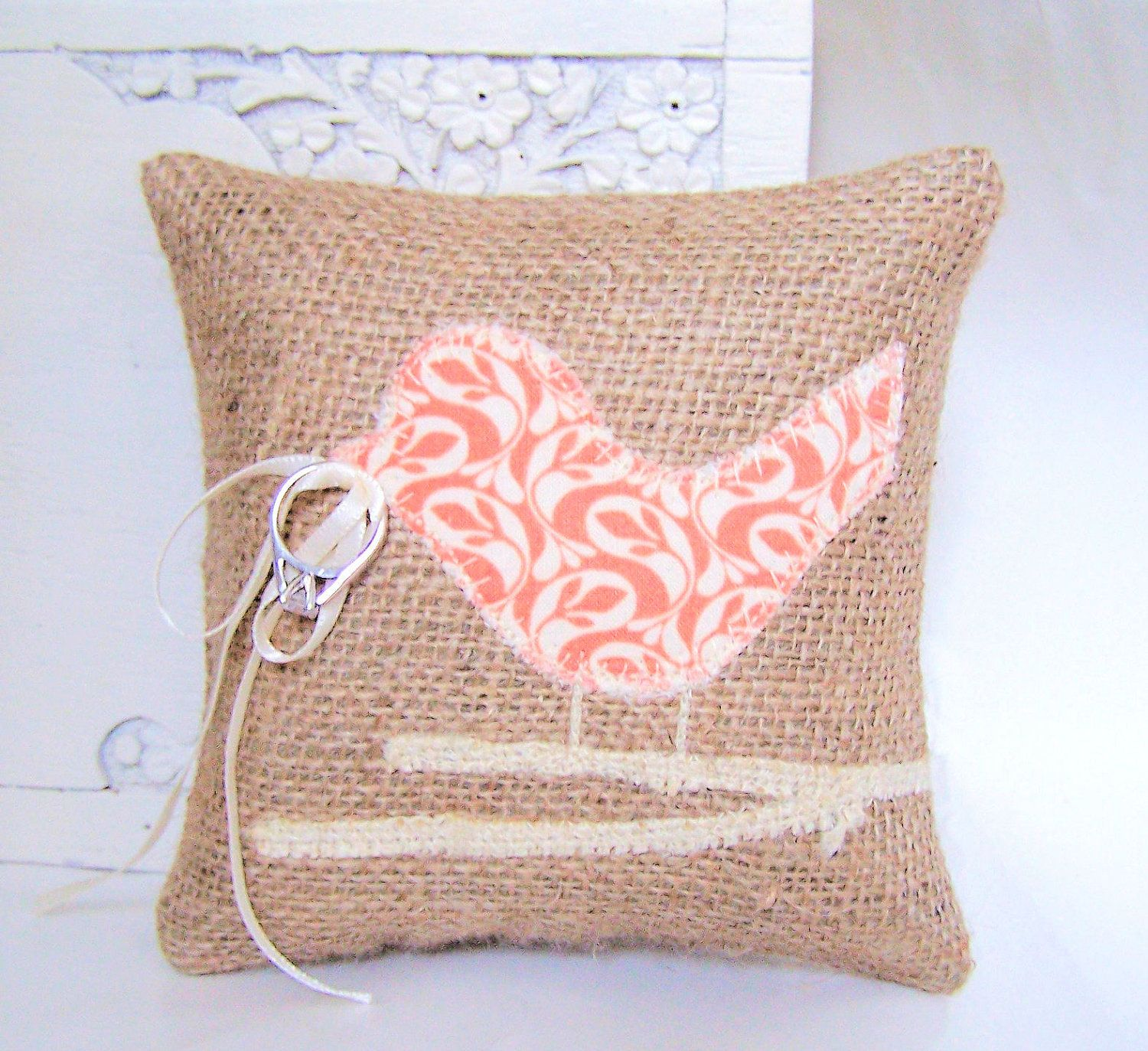 Love Bird Wedding Ring Bearer Pillow, Modern Peach Paisley, Burlap ...