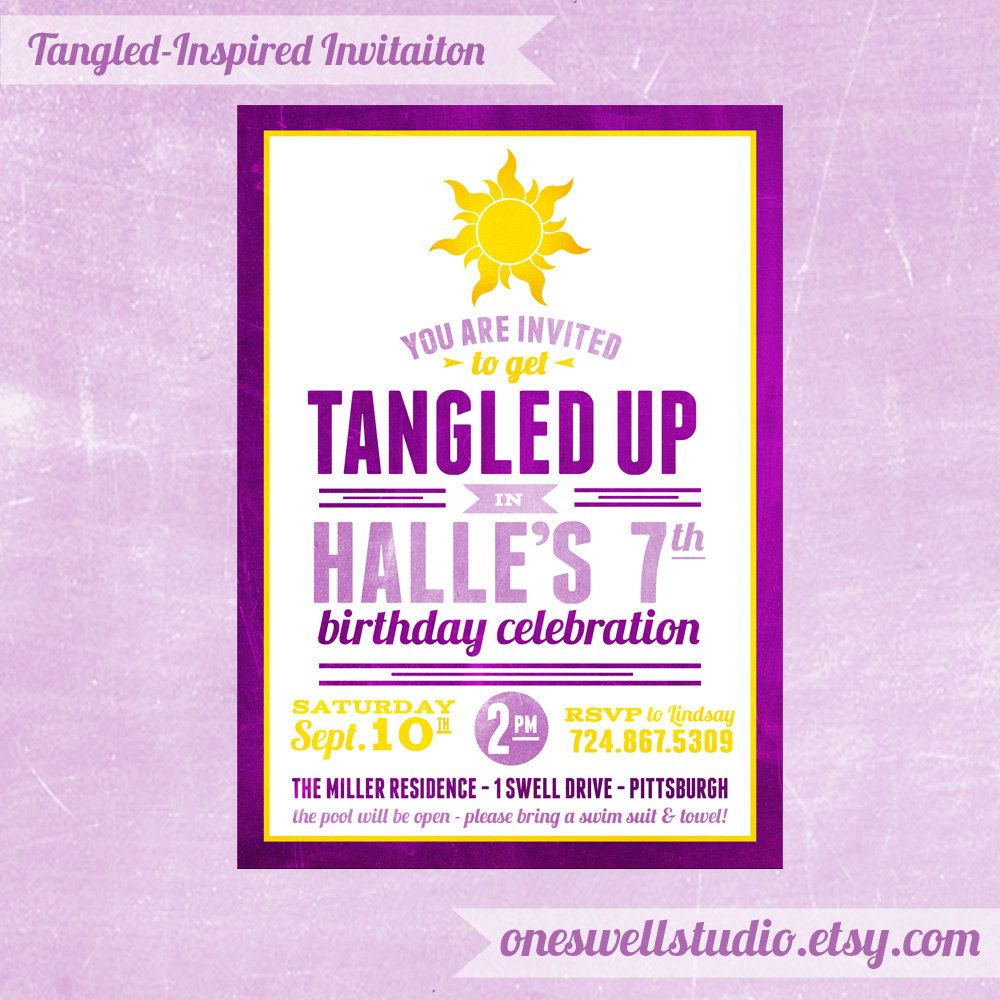 Tangled Inspired Rapunzel Party Diy Printable Invitation 5x7