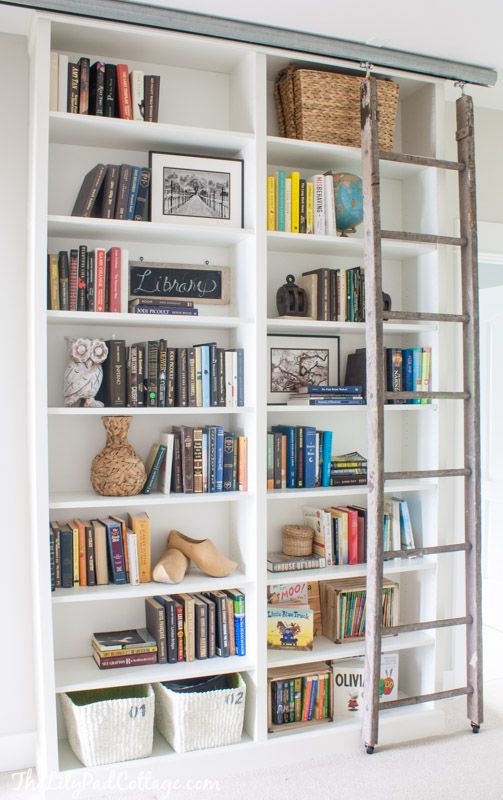 billy bookcase hack with library ladder billy bookcase. Black Bedroom Furniture Sets. Home Design Ideas
