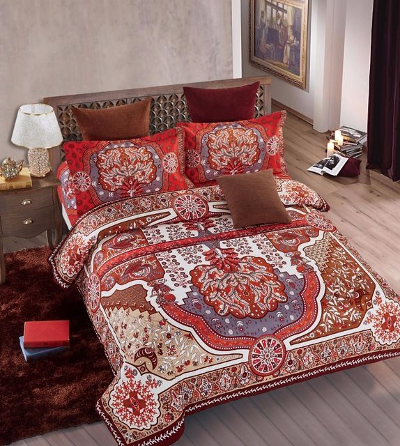 4pcs Colorful Boho Style Double bed cover set bohemian bedding