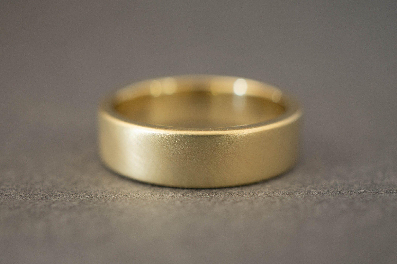 Bread Butter 6mm Mens Wedding Band Wide Gold Wedding Etsy Mens Gold Wedding Band Gold Wedding Bands Women Matte Gold Wedding