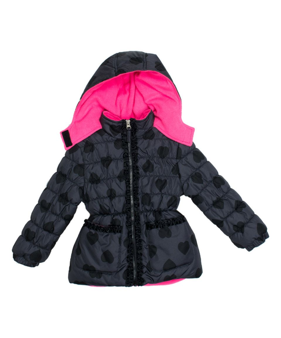 97ff4a5e8 Loving this Pink Platinum Black Heart Puffer Jacket - Infant ...