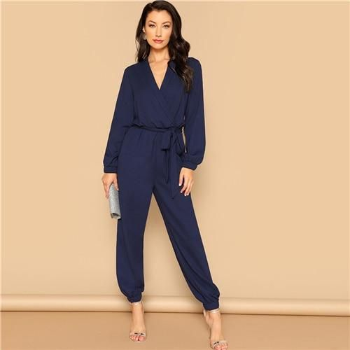 15505dccfa2 Navy Plain Surplice Wrap Plunging Belted Elegant Jumpsuit