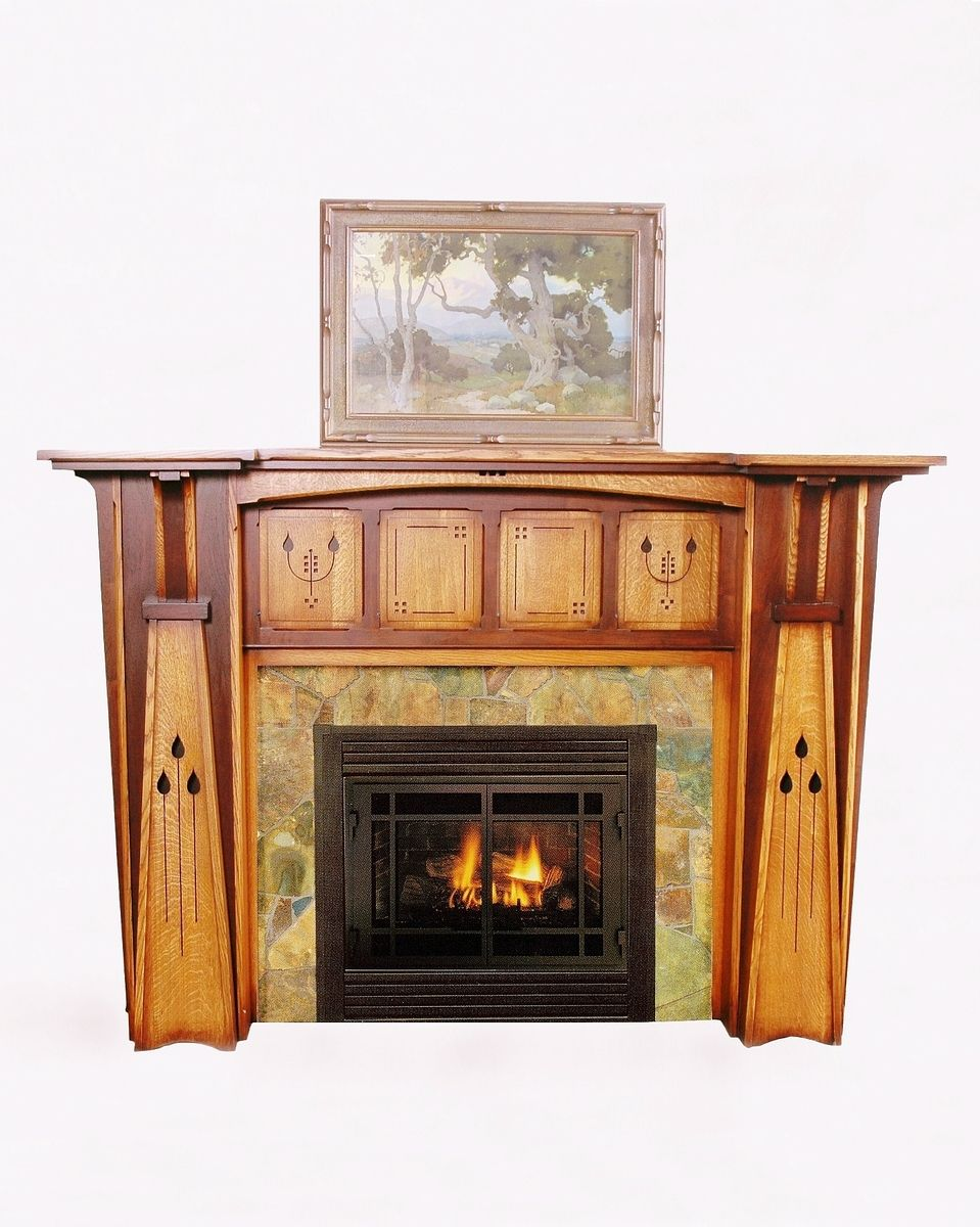 Arts & Crafts Style Fireplace Mantel (Too ornate, but I like the ...