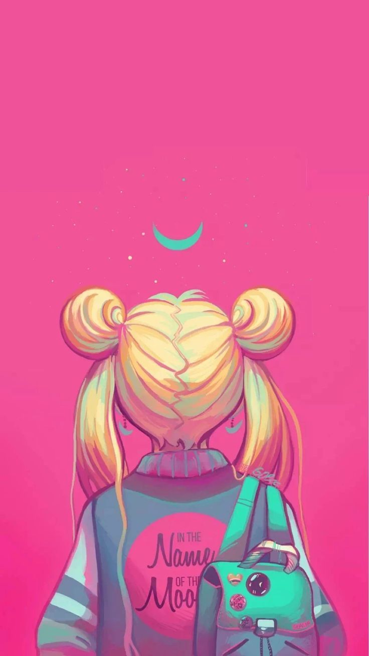 Sailor Moon painting, neon pink, in the nakme of the moon