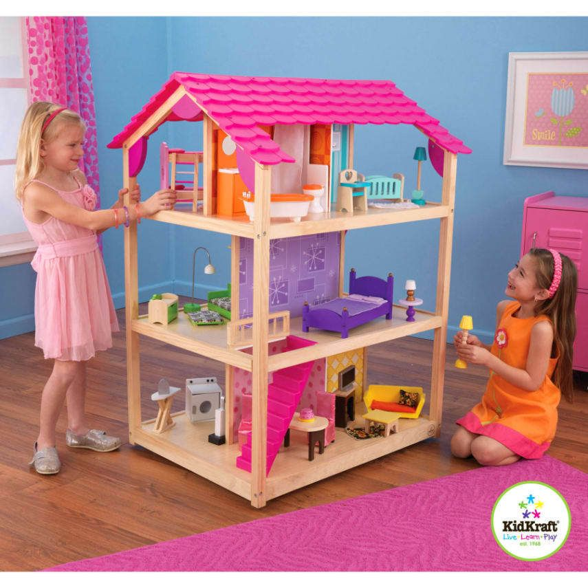 Details about KidKraft So Chic Wooden Dollhouse with 45 ...