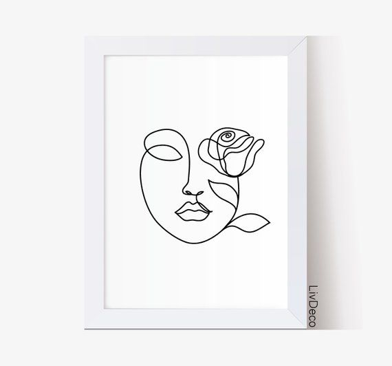 Beauty abstract woman face line drawing, fashion wall art, minimalist art, Face whith rose one line drawing, girl room decor modern portrait