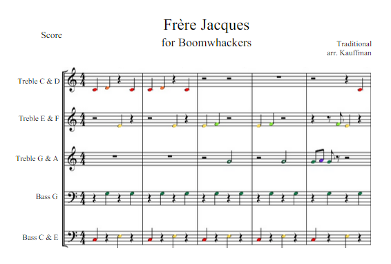 Free Download Arrangement Of Frere Jacques For Boomwhackers