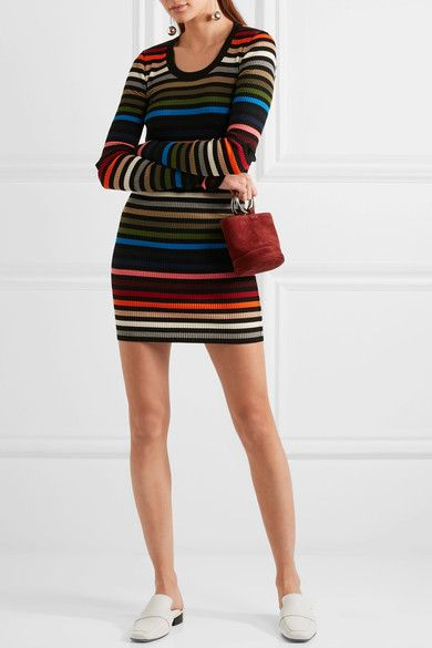 fcac16bab1 Sonia Rykiel - Striped Ribbed-knit Mini Dress - Orange