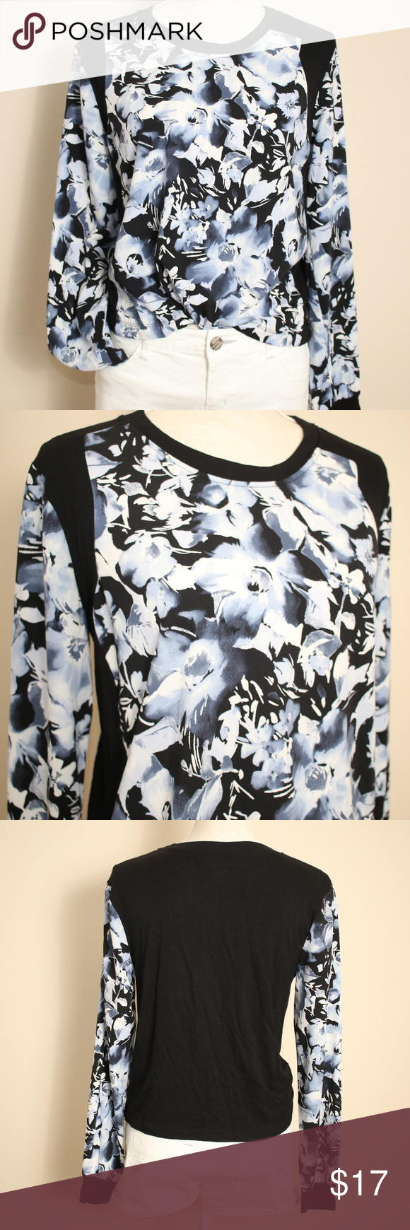 1ff067e4d15faa Forever 21 Long Sleeve Black Navy Floral Top S M Brand  Forever 21 ...