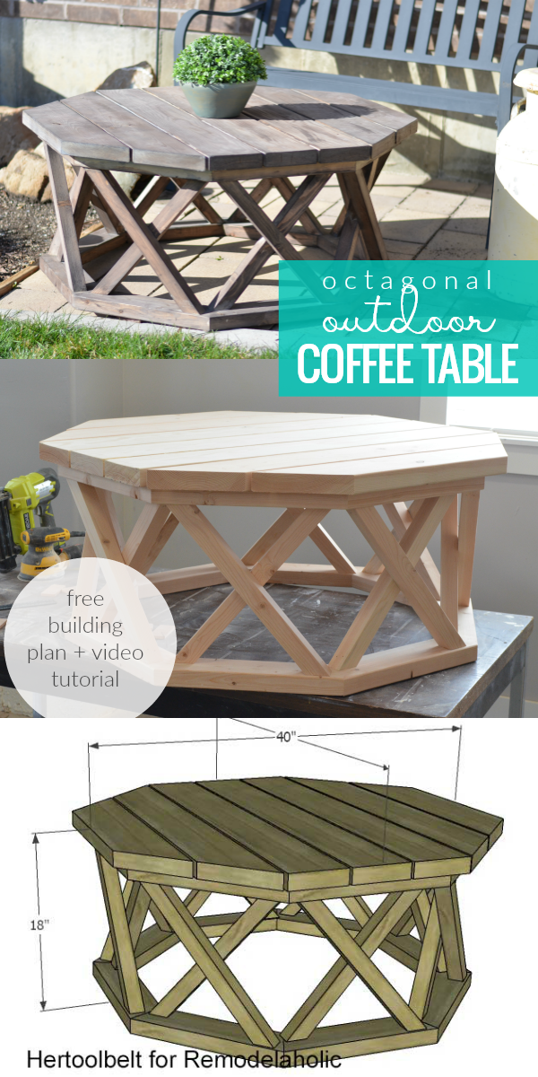 Build A Rustic Wood Octagon Coffee Table For Indoor Or Outdoor Entertaining Uses Affordab Wood Projects Plans Woodworking Furniture Plans Diy Furniture Plans